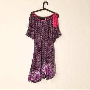Free People | Purple Floral Asymmetrical Hem Dress